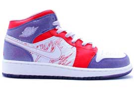 Girls-Youth-GS-Retro-Grey-Violet-Sunburst-White-Air-Jordan-1-Original-Release