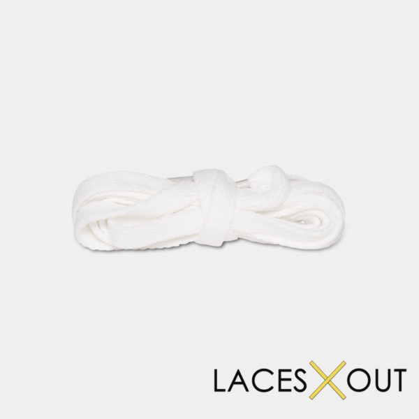 White Sneaker Shoelaces Wrapped View