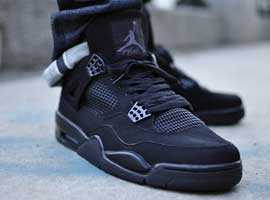 Air Jordan 4 Retro Black Cat Black Black Light Graphite shoes