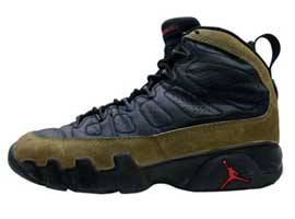 air jordan 9 olives black light olive true red