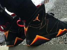 air jordan 7 retro black citrus varsity red