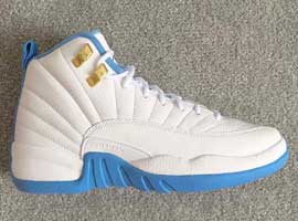 air jordan 12 retro womens white university blue metallic silver