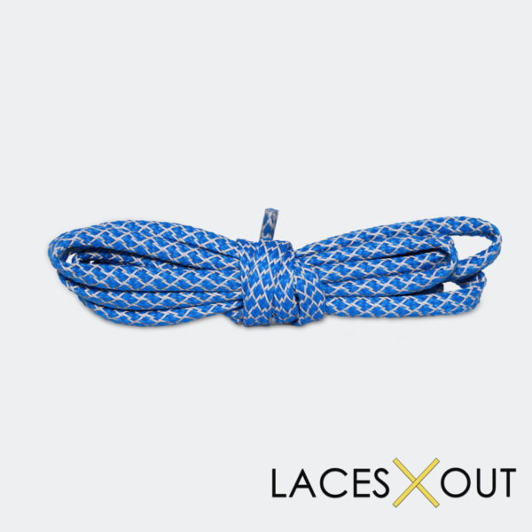 "Blue 3M Shoelaces ""Flat"" Top View"
