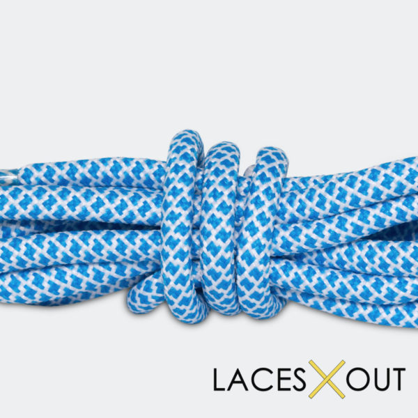 Blue x White Rope Shoelaces Close