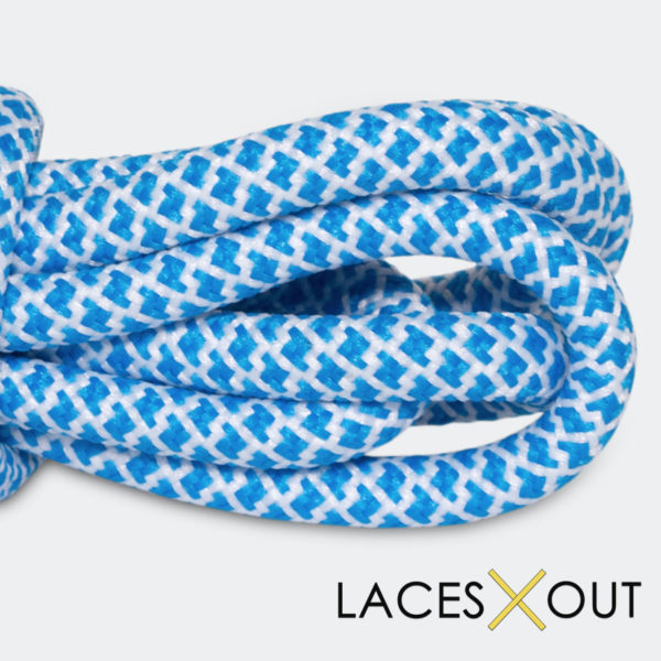 Blue x White Rope Shoelaces Side