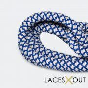 Blue and Tan Rope Shoelaces On Feet