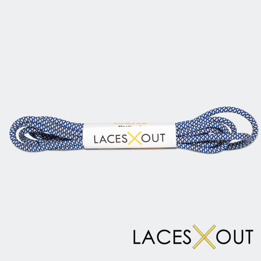 Blue and Tan Rope Shoelaces HD