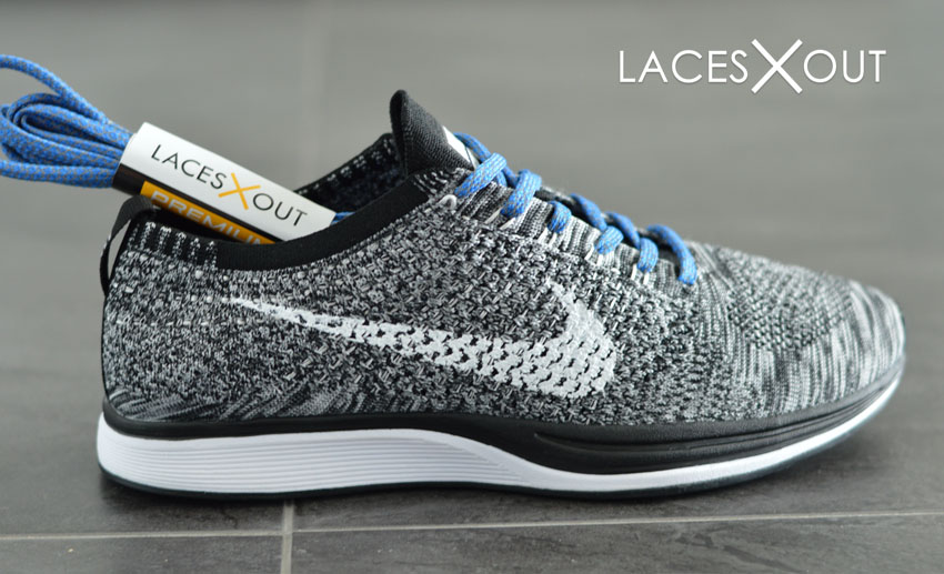 Nike Flyknit Racer Oreos Blue Laces Top View
