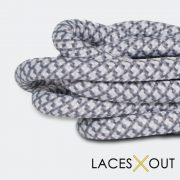 White Grey Rope Shoelaces Close
