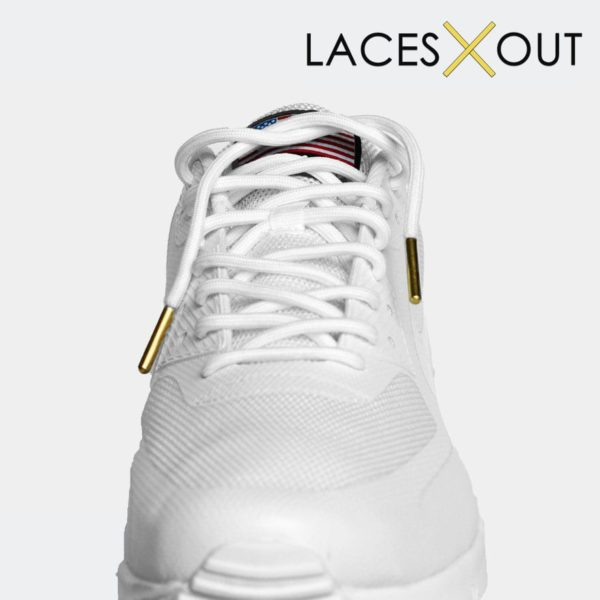White Gold Aglet Shoelaces